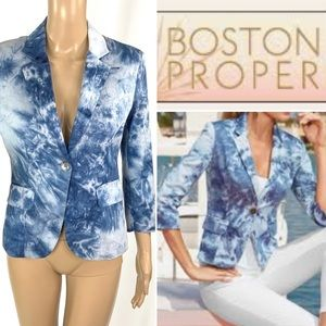 BOSTON PROPER Blues Tie dyed Blazer